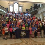 Carmine with Wayland 3rd graders visiting the State House
