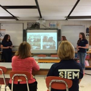 Carmine visiting Minuteman Regional Vocational High School Girls in STEM summer program